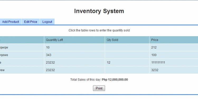 Simple Inventory System Using