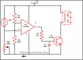 Circuit Diagram of Automatic Street Light Controller Switch using LDR and Sensor